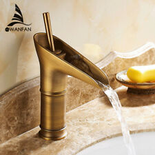 Bathroom Water Mixer Modern Basin Waterfall Spout Tap Sink Faucet Deck Mounted