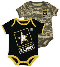 Officially Licensed Army Black and Digital ACU Infant Bodysuits 2 Pack