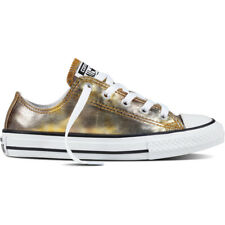 Converse Chuck Taylor All Star Ox Silver/Gold Textile Junior Trainers Shoes
