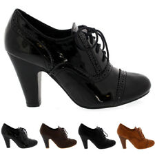 Ladies Mary Jane Brogue Lace Up Ankle Boot Cuban Heel Work Office Shoe All Sizes