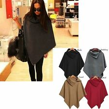 New Winter Fashion Women Batwing Cape Wool Poncho Jacket Lady Cloak Coat