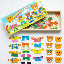Baby Bear Changing Clothes Wooden Puzzle Jigsaw Kids Educational Toys Gifts Hot