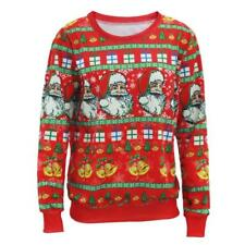 Red Ugly Sweaters Santa Claus Tree Reindeer Patterned Sweater Unisex Christmas