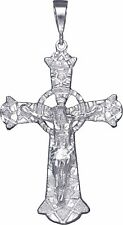 Huge Sterling Silver Celtic Cross with Jesus Pendant Necklace 4.1 Inches 23 Gram