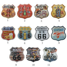 Shabby Chic Retro Shield Metal Tin Sign Poster Plaque US Route 66 Wall Art Decor