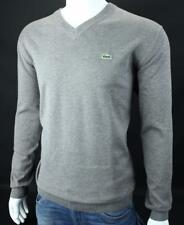 LACOSTE Croc Logo Mens V Neck Cotton Sweater Heather Gray NWT $135