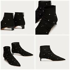 ZARA NEW HIGH HEEL TULLE ANKLE BOOTS WITH FAUX PEARLS 5127/201