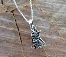 Dainty Wise Owl Sterling Silver Pendant Necklace 925 Nature Charm on nice Chain