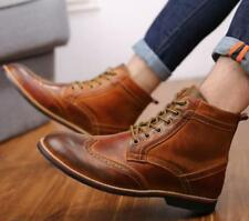 Mens Vintage Carved Brogue Wingtip Lace Up High Top Casual Ankle Boots Shoes