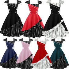 Plus Size 50s Vintage ROCKABILLY SWING DRESS Retro Pinup Housewife Polka Dot New