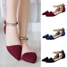Women's Fashion Casual Ballet Flats Suede Pointed Toe Wedding Straps Pumps Shoes