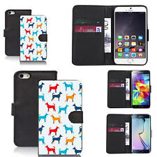 faux leather wallet case for many Mobile phones - multi dogs