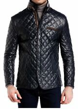 New Men Quilted Leather Snap Button Jacket/Coat black All Sizes