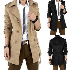 Men's Fashion Slim Double Breasted Trench Coat Long Jacket New Overcoat Outwear