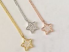 925 Sterling Silver Gold Rose Star Necklace Pendant Cubic Zirconia Crystals CZ