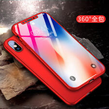 360° Shcokproof Case For iPhone X Thin Slim Hard Cover + Temper Glass Protecter