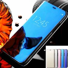 Luxury Acrylic Mirror PU Leather Flip Stand Case Cover For iphone X 10 8 7 Plus