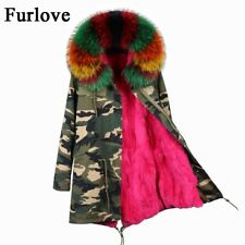 Fur Liner Real Raccoon Parka Jacket Women Hooded Coat Collar Winter Large Warm