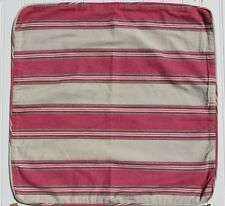 "NWT Pottery Barn Veranda Stripe Pillow Cover 20"" Square Khaki Red Stripes NEW"