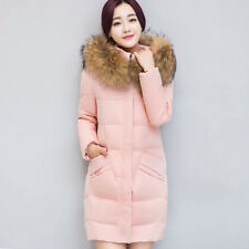 Women Down Loose Coat Fur Parka Hooded Jacket Long Jackets Winter Warm Outwear