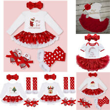 Girl My First Christmas Dress Outfit Baby Infant Tutu Romper Party Clothes Gifts