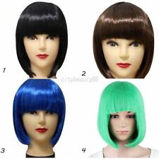 US Fashion Short Straight Bob Hair Wig Full Bangs Wigs Party Cosplay for Women