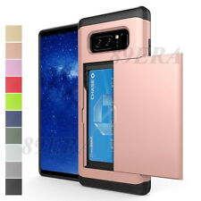 Shockproof Slide Card Slot Wallet Heavy Duty Case Rugged Cover For Samsung Phone