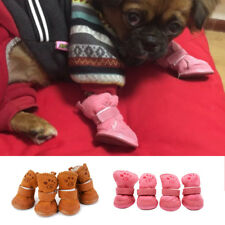 4Pcs Winter Dog Cat Rain/Snow Boots Soft Rubber Pet Shoes Booties Candy Colors