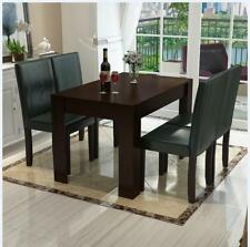 4 Person Walnut Wood Dining Table Set with 4 Chairs Home Furniture