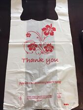 Large White Thank you plastic shopping bag for retail store, grocery, 12x22.5