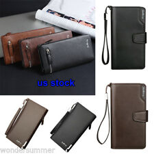 Fashion Men's Leather Long Wallet Pockets ID Card Clutch Cente Bifold Purse US