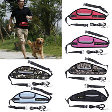 Pet Dog Puppy Cat Exercise Hands Free Running Jogging Leash Reflective Waist Bag