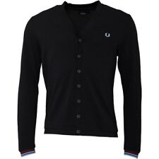 Fred Perry Mens Pique Cardigan Black SMALL RRP 79.90