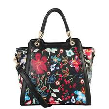 Diophy PU Leather Floral Embroidered Pattern Medium Tote Handbag
