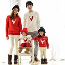 Couple T-Shirt Christmas Deer Long Sleeve Matching Family Clothes Tee Tops New