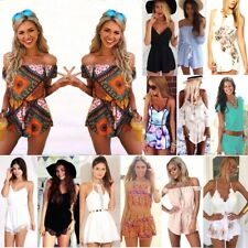 Summer Womens Holiday Mini Playsuit Ladies Jumpsuit Beach Dress Size 6 - 14