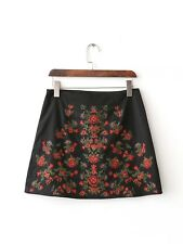 Womens Ethnic Floral Embroidery A-Line Zipper Black Mini Skirt