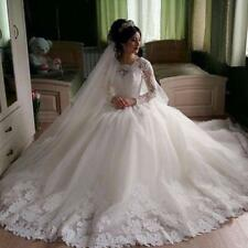 Modest White Wedding Dress Sheer Long Sleeves Bridal Dress with Lace Vestido De