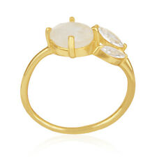 Moonstone and Cz Gemstone 18k Gold Plated Designer Fashion Ring Handmade Jewelry
