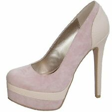 Qupid ravish-11 platform 6 inch stiletto heel pumps blush faux suede shoes