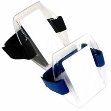 Arm Band Photo ID Card Badge Holder Vertical w/ Black or Blue Strap - PACK of 25
