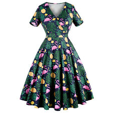 50'S 60'S Rockabilly Dress Floral Style Swing Pinup Retro Housewife Party Dress