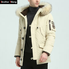 Men Fur Jacket Hooded Coat Winter Warm Parka Outwear Collar Thicken Down Cotton