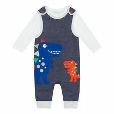 Bluezoo Kids Baby Boys' Navy Dinosaur Applique Top And Dungarees Set