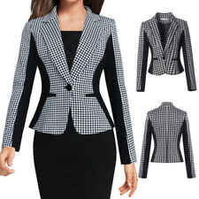 Womens Casual Plaid Houndstooth One Button Blazer Suit Jacket Outwear Short Coat