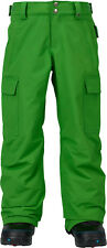 Brand New Boys Burton Exile Cargo Youth Snowboard Snow Pants Slime Green