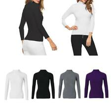 WOMENS BASIC LONG SLEEVE MOCK TURTLE NECK CASUAL T-SHIRT STRETCH SWEATER TOP