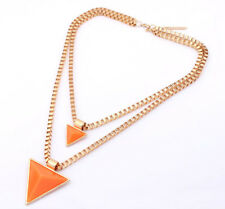 Korean Fashion Charm Double Layer Chain Triangle Pandent Chocker Necklace Gift