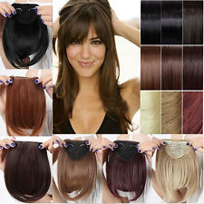 100% Real Straight Bang Clip in on Fringe Hair Extensions Humans Hairpiece ncw8