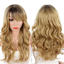 Sexy Long Body Wavy Wigs with Side Bangs Ombre Blonde Synthetic Wigs for Women